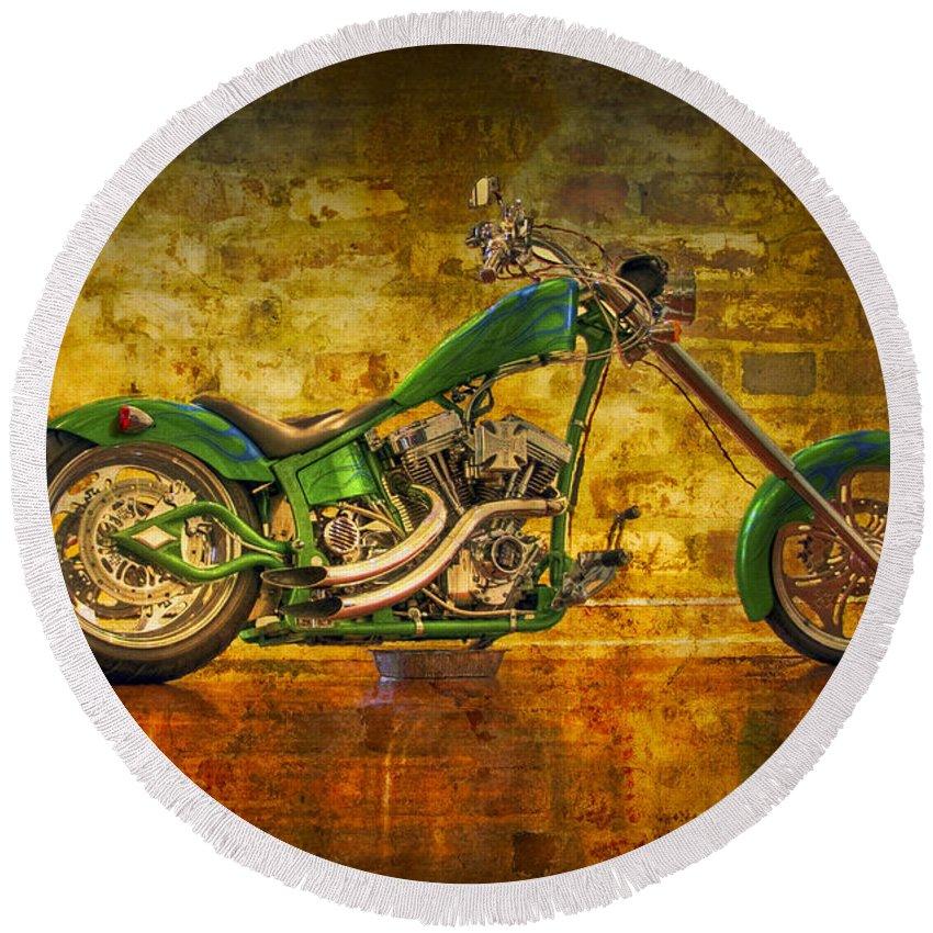 2-wheeler Round Beach Towel featuring the photograph Green Chopper by Debra and Dave Vanderlaan