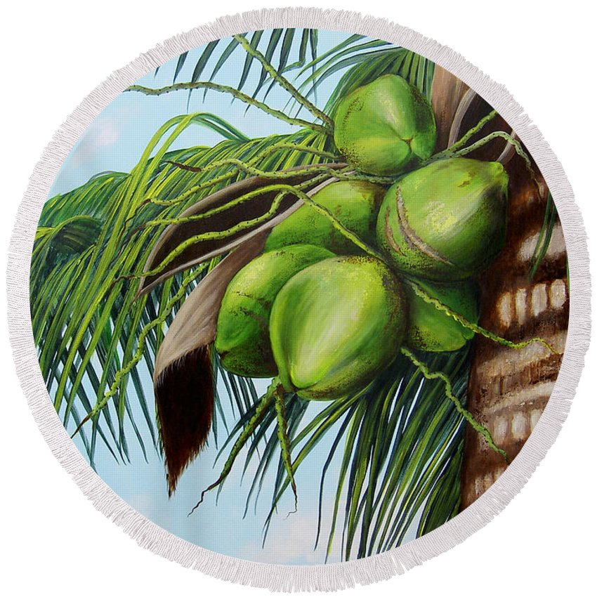 Coconuts Round Beach Towel featuring the painting Green Coconuts- 01 by Dominica Alcantara