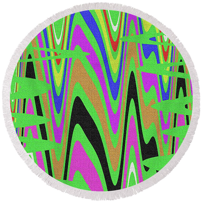 Green Color Abstract #140 Round Beach Towel featuring the photograph Green Color Abstract #140 by Tom Janca