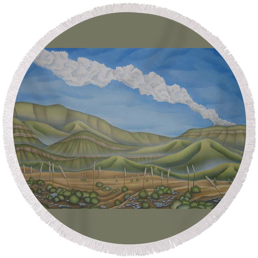 Landscape Round Beach Towel featuring the painting Green Desert by Jeniffer Stapher-Thomas