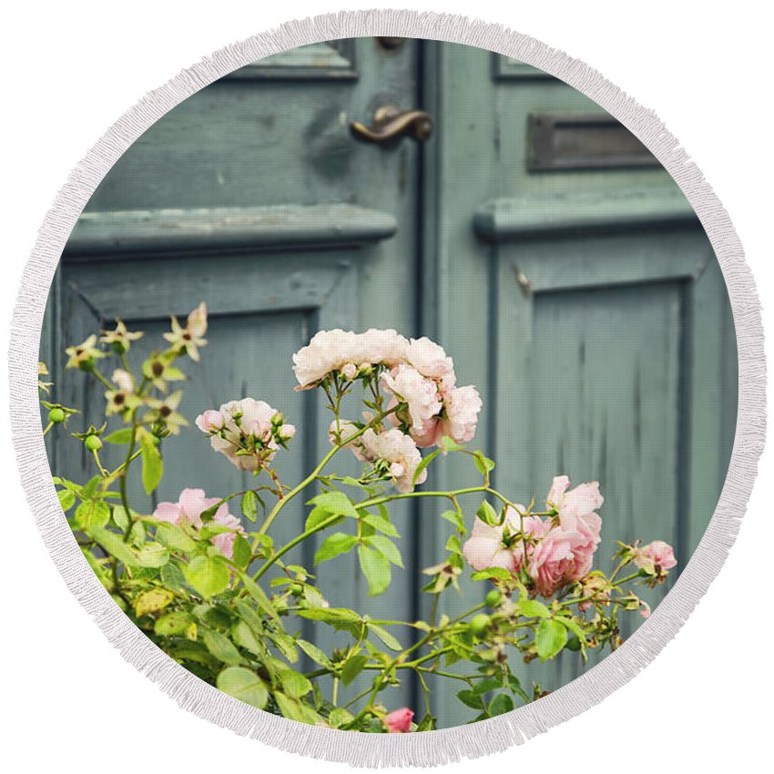 Green Round Beach Towel featuring the photograph Green Door With Rosebush by Sophie McAulay
