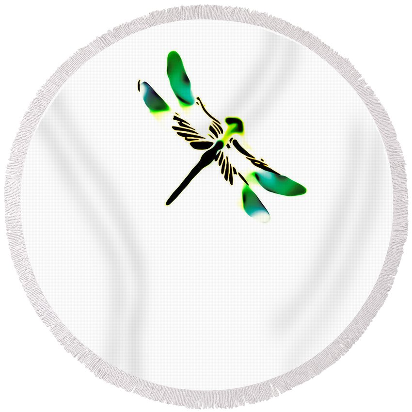 Green Round Beach Towel featuring the photograph Green Dragonfly by Heather Joyce Morrill
