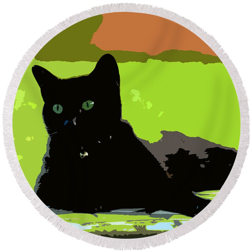 Cat Round Beach Towel featuring the painting Green Eyes by David Lee Thompson