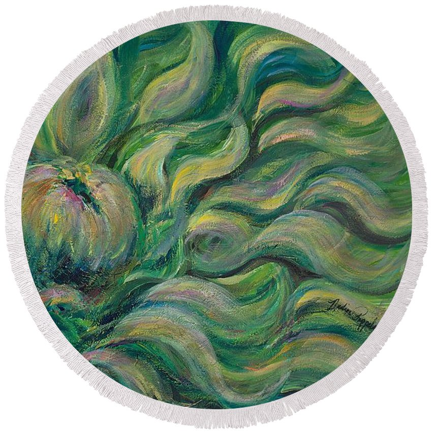 Green Round Beach Towel featuring the painting Green Flowing Flower by Nadine Rippelmeyer