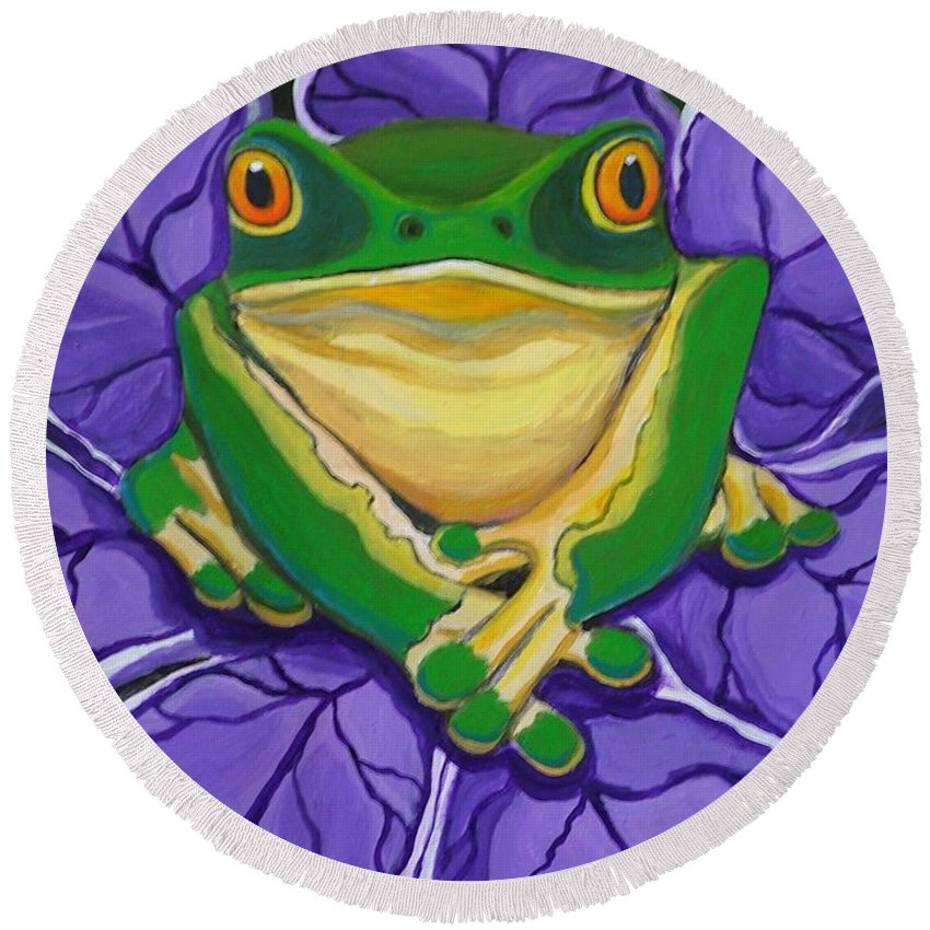 Frog Painting Round Beach Towel featuring the painting Green Frog by Nick Gustafson