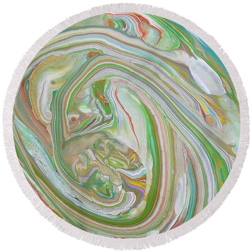 Abstract Round Beach Towel featuring the painting Green Garden by Rosa Lopez
