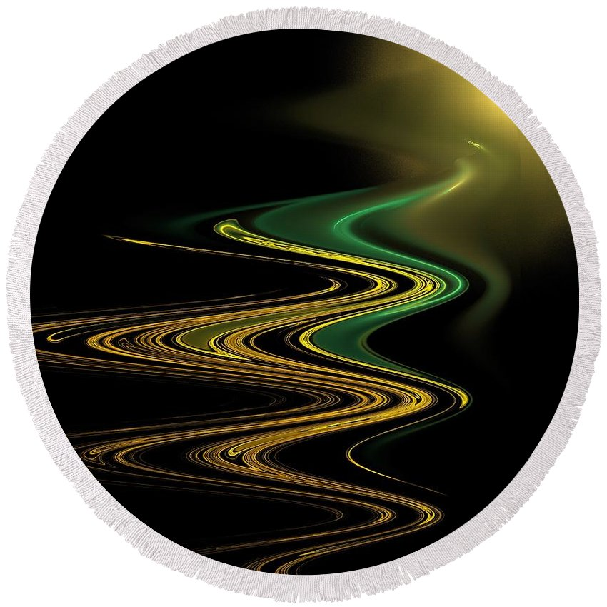 Apophysis Round Beach Towel featuring the digital art Green Gold Waves by Kim Sy Ok