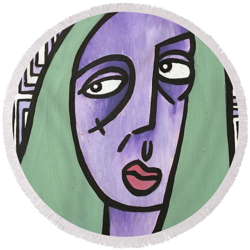Clay Round Beach Towel featuring the painting Green Hair by Thomas Valentine