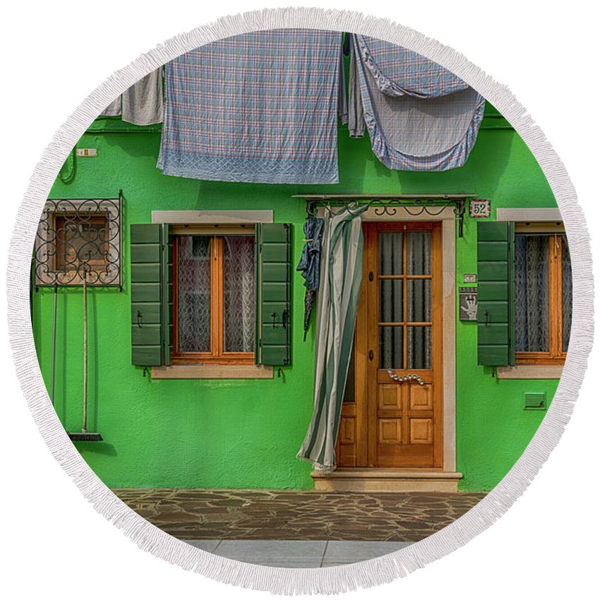 Burano Round Beach Towel featuring the photograph Green House And Hanging Wash_dsc5111_03042017 by Greg Kluempers