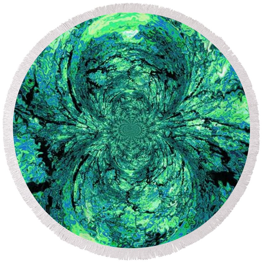 Green Round Beach Towel featuring the digital art Green Irrevelance by Charleen Treasures