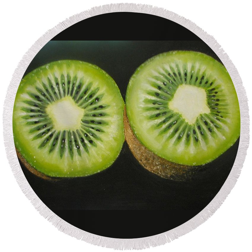 Kiwi Round Beach Towel featuring the painting Green Kiwi Oil Painting by Natalja Picugina