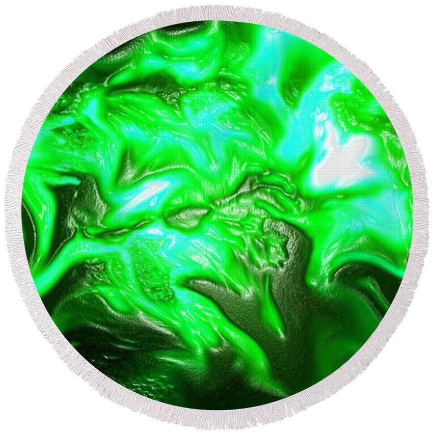 Abstract Round Beach Towel featuring the digital art Green Lantern by Ken Figurski