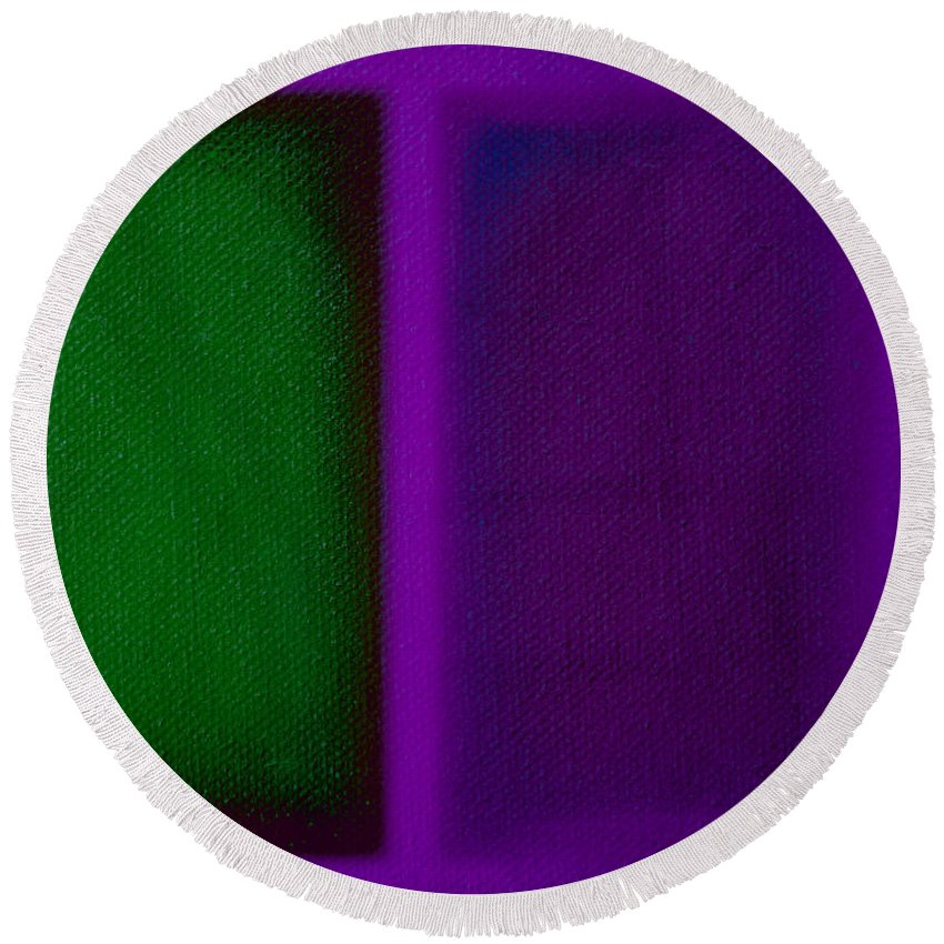Rothko Round Beach Towel featuring the painting Green On Magenta by Charles Stuart