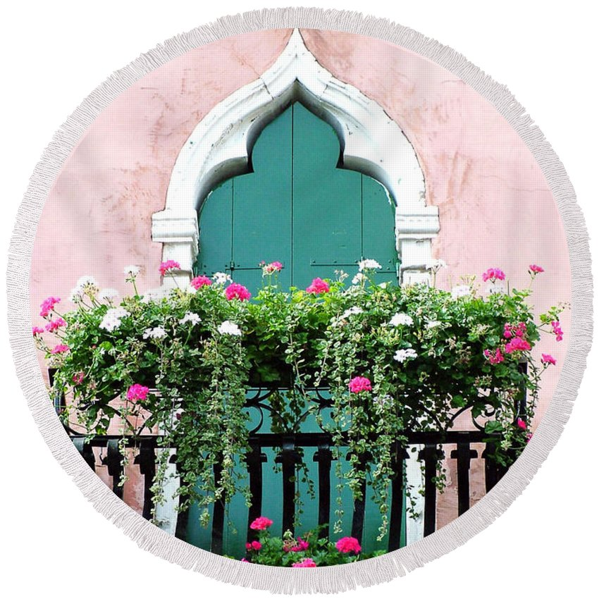 Green Round Beach Towel featuring the photograph Green Ornate Door With Geraniums by Donna Corless