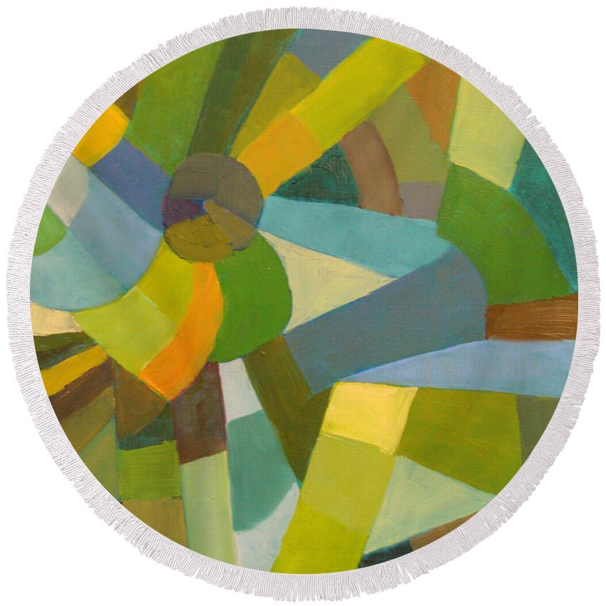 Green Round Beach Towel featuring the painting Green Pallette by Art Nomad Sandra Hansen