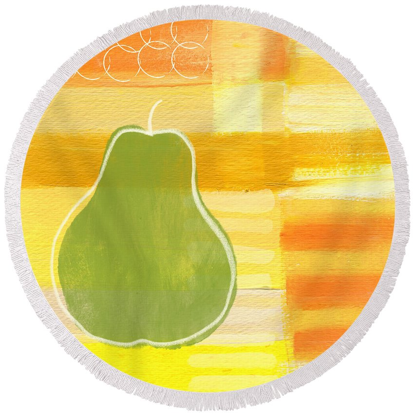 Pear Round Beach Towel featuring the painting Green Pear- Art By Linda Woods by Linda Woods