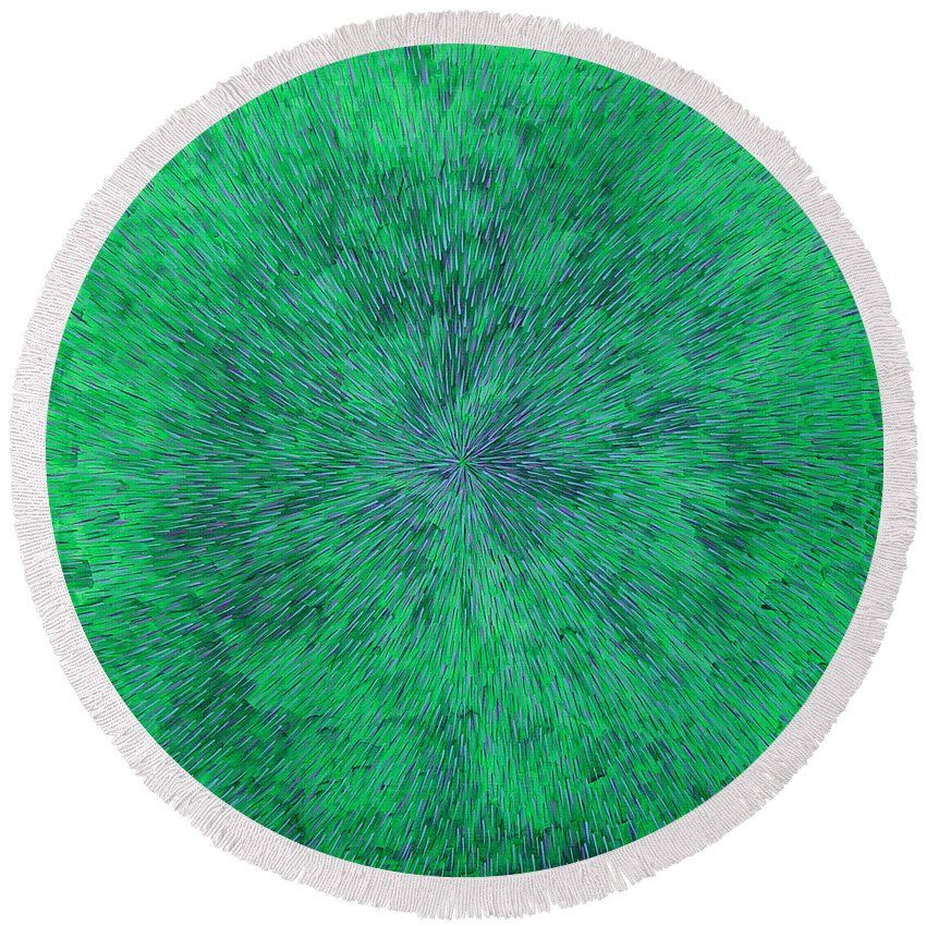 Abstract Round Beach Towel featuring the painting Green Radation With Violet by Dean Triolo