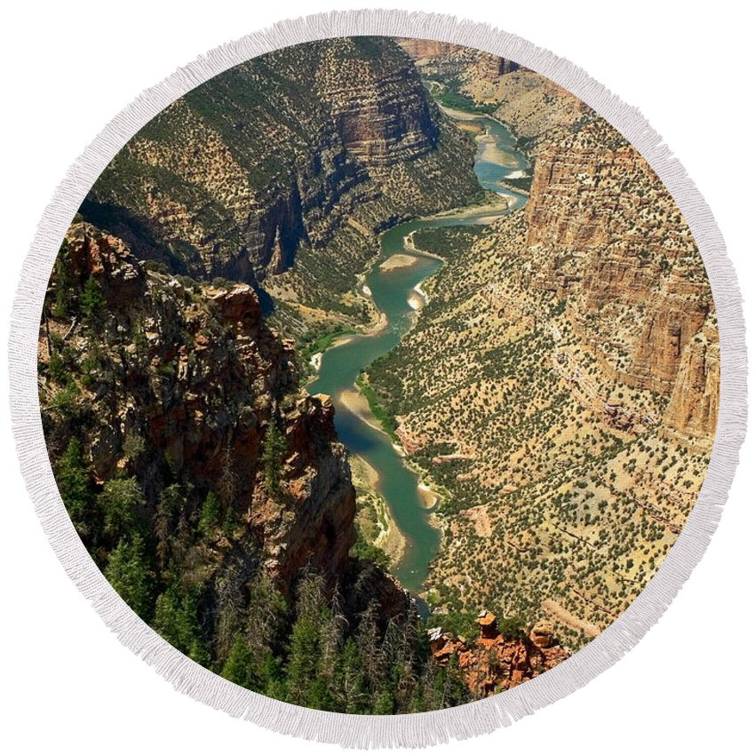 Green River Flowing Through Canyon Round Beach Towel featuring the photograph Green River Carving Canyon by Sally Weigand