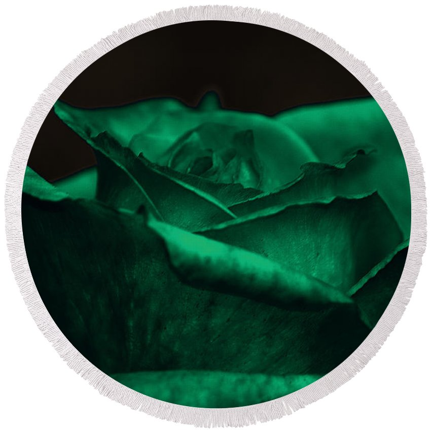 Clay Round Beach Towel featuring the photograph Green Rose by Clayton Bruster