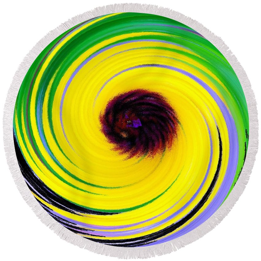 Abstract Round Beach Towel featuring the digital art Green Rush by Ian MacDonald