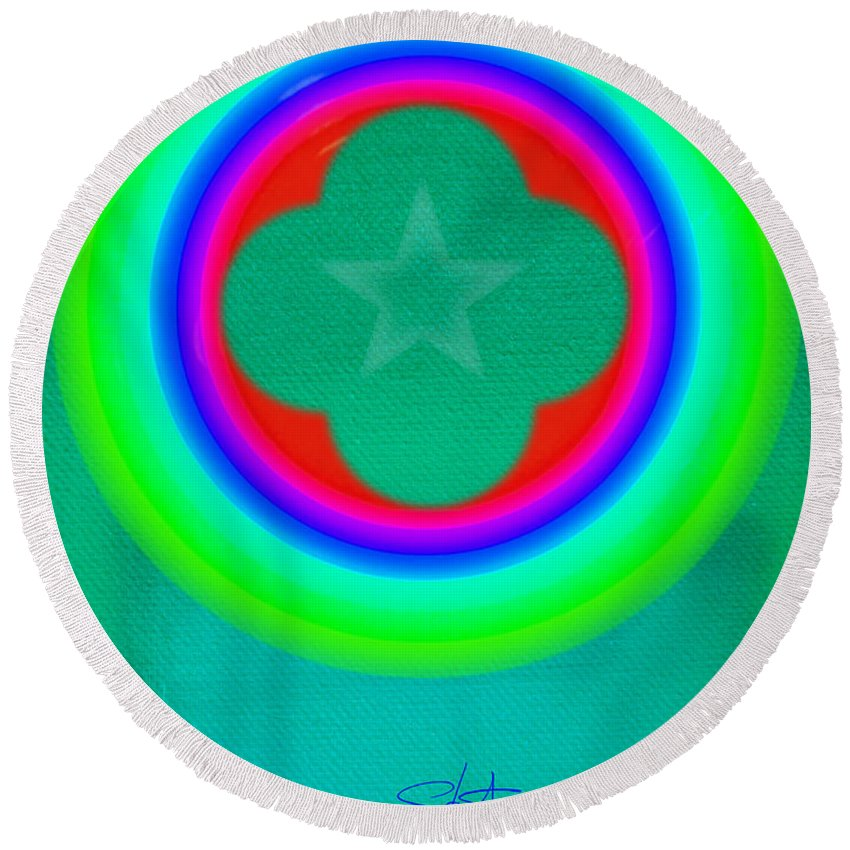Abstract Round Beach Towel featuring the painting Green See by Charles Stuart