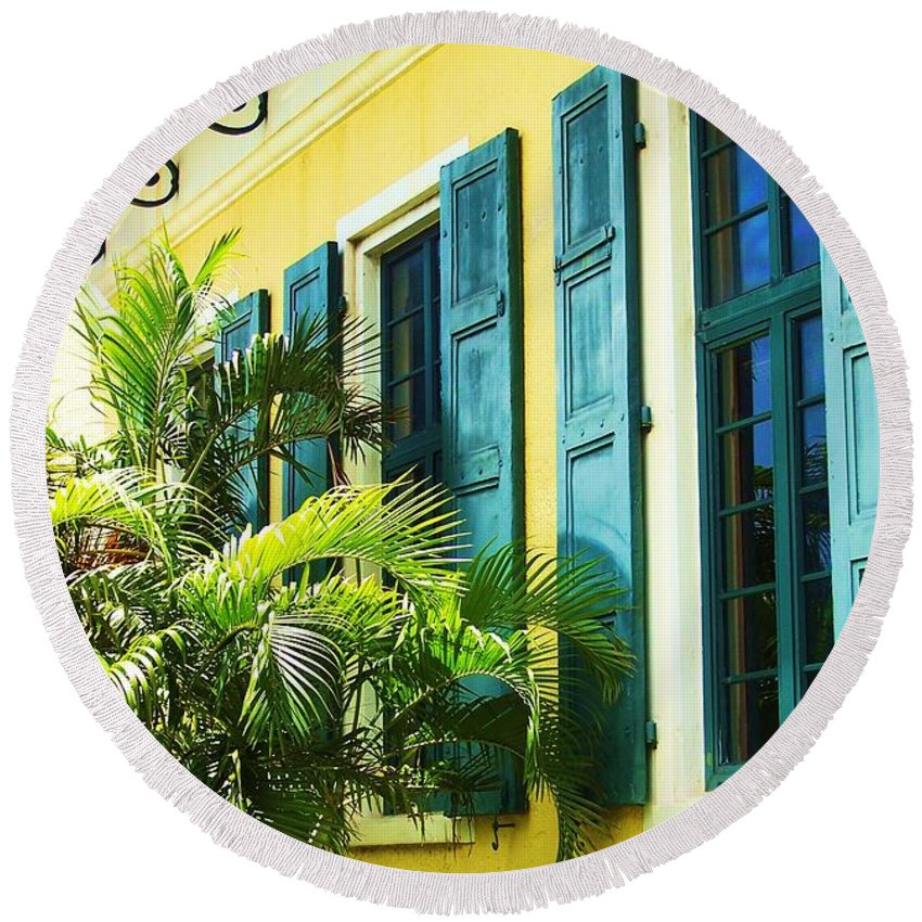 Architecture Round Beach Towel featuring the photograph Green Shutters by Debbi Granruth
