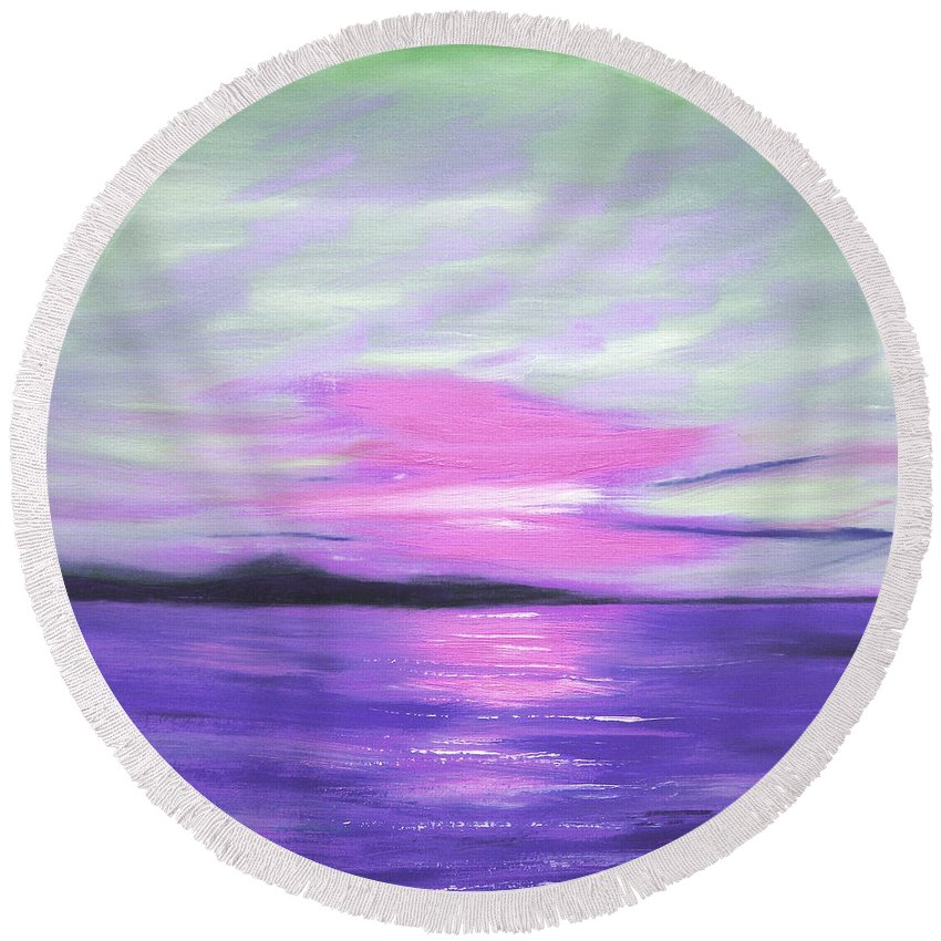 Green Round Beach Towel featuring the painting Green Skies And Purple Seas Sunset by Gina De Gorna