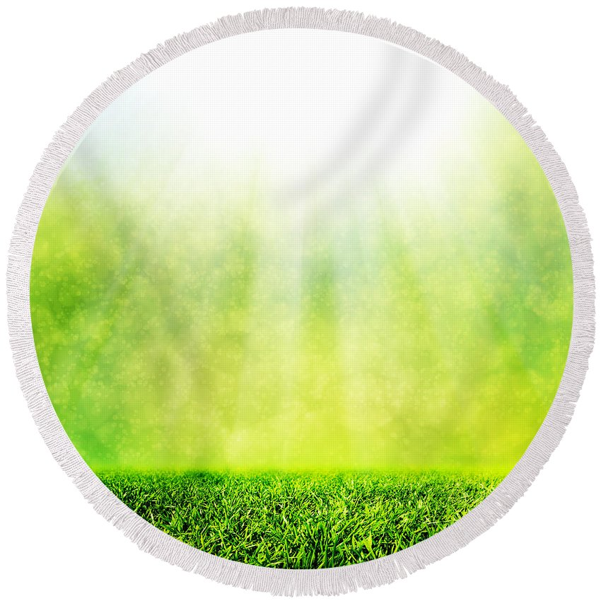 Grass Round Beach Towel featuring the photograph Green Spring Grass Against Natural Nature Blur by Michal Bednarek