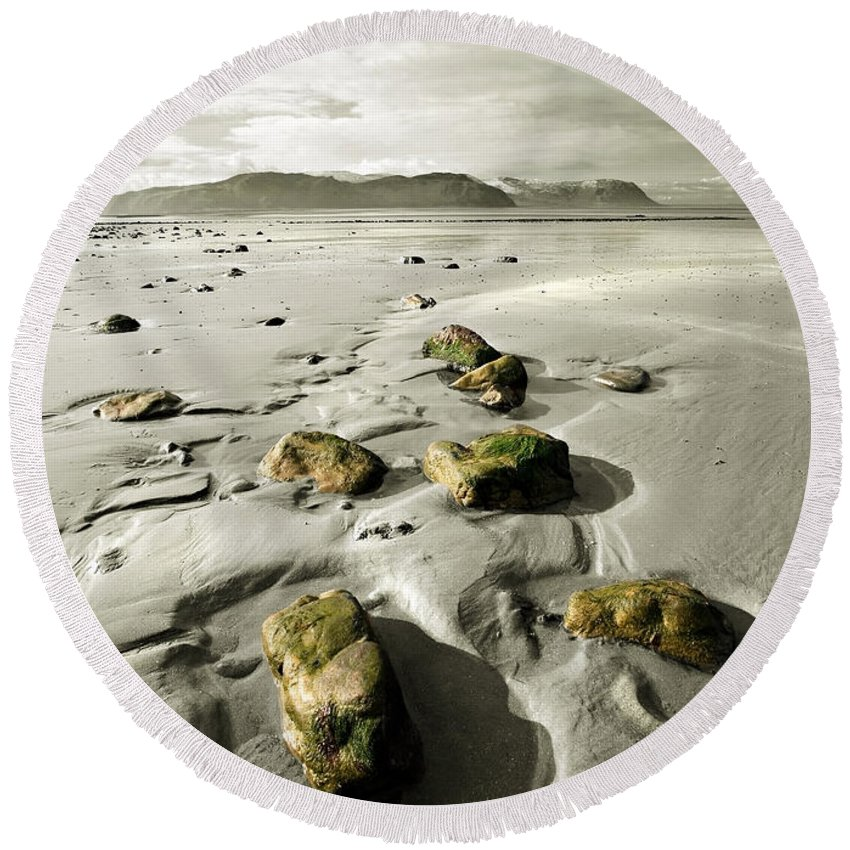 Beach Round Beach Towel featuring the photograph Green Stones On A North Wales Beach by Mal Bray