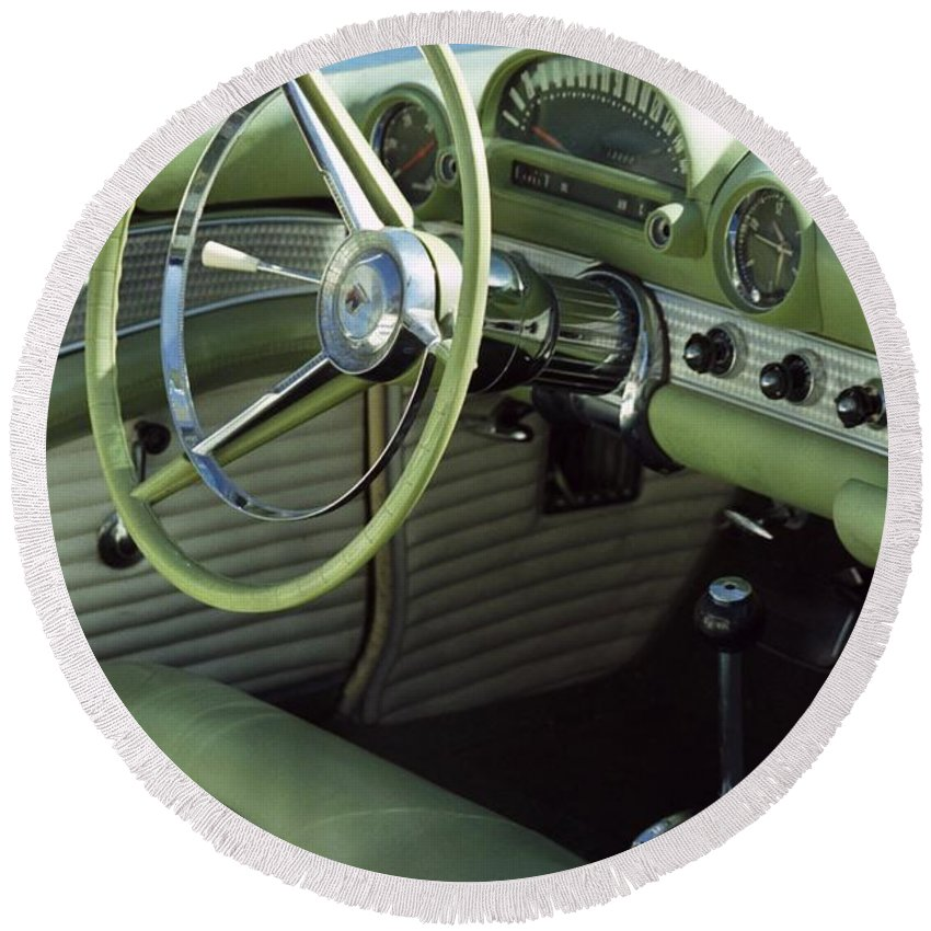 Photography Round Beach Towel featuring the photograph Green Thunderbird Wheel And Front Seat by Heather Kirk