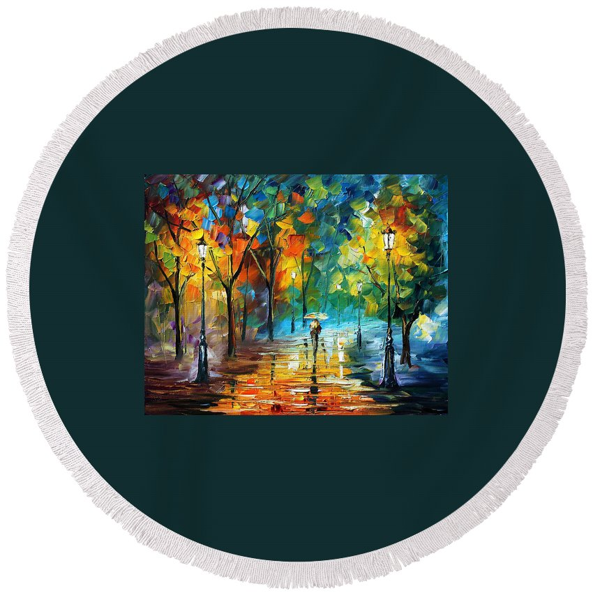 Landscape Round Beach Towel featuring the painting Green Tree by Leonid Afremov