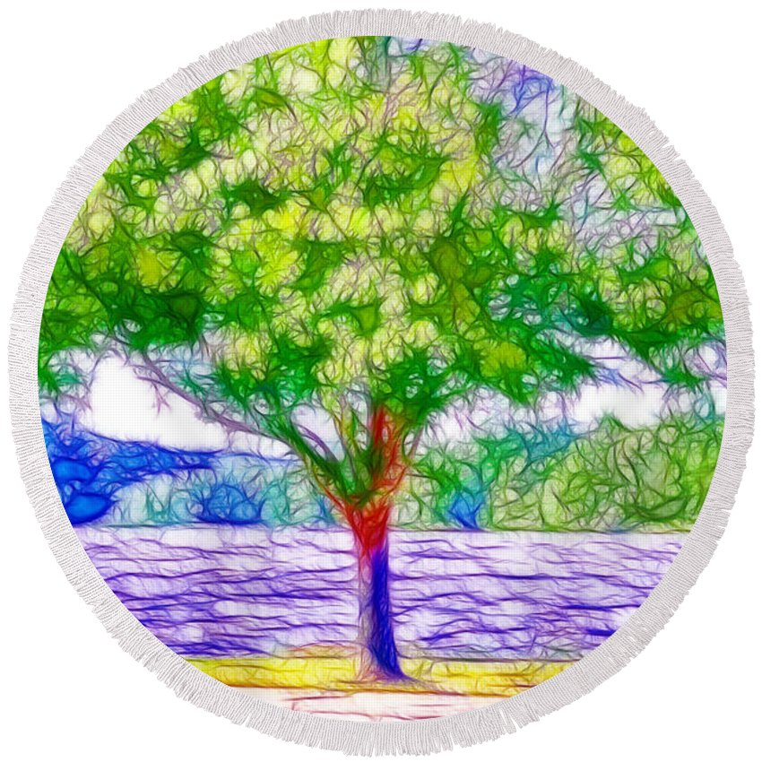 Lake Round Beach Towel featuring the painting Green Trees By The Water 5 by Jeelan Clark