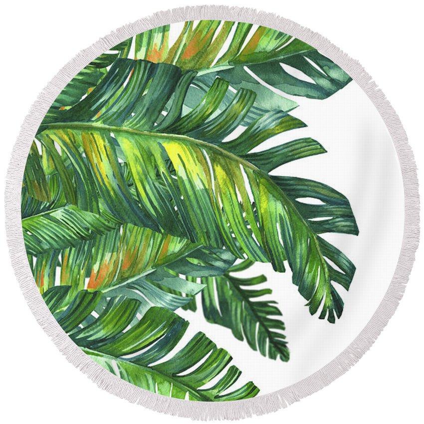 Summer Round Beach Towel featuring the digital art Green Tropic by Mark Ashkenazi
