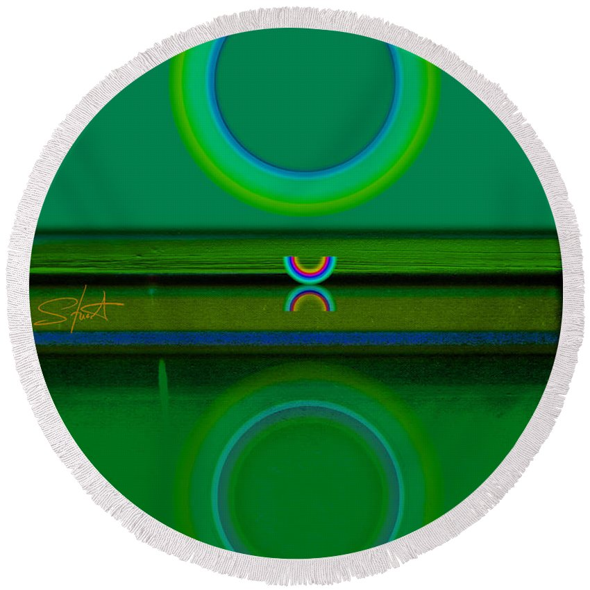 Green Round Beach Towel featuring the painting Green Water by Charles Stuart
