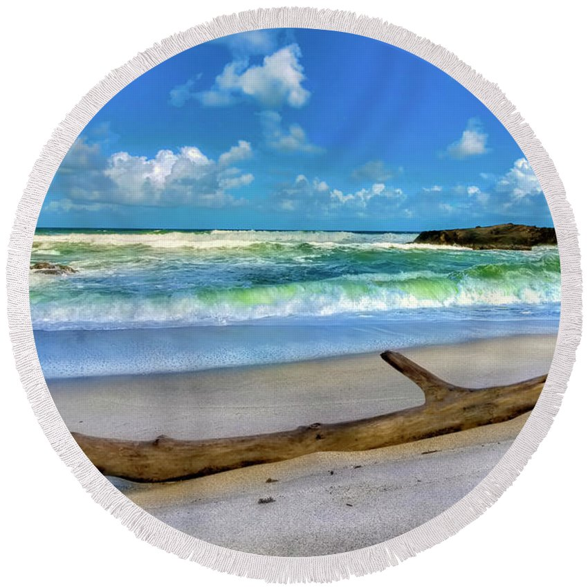 Caribbeansea Round Beach Towel featuring the photograph Green Waves by Nadia Sanowar