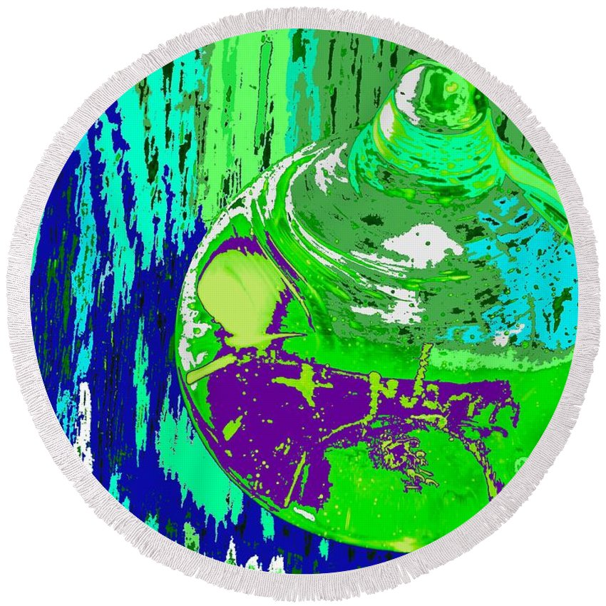 Abstract Round Beach Towel featuring the photograph Green Whirl by Ian MacDonald