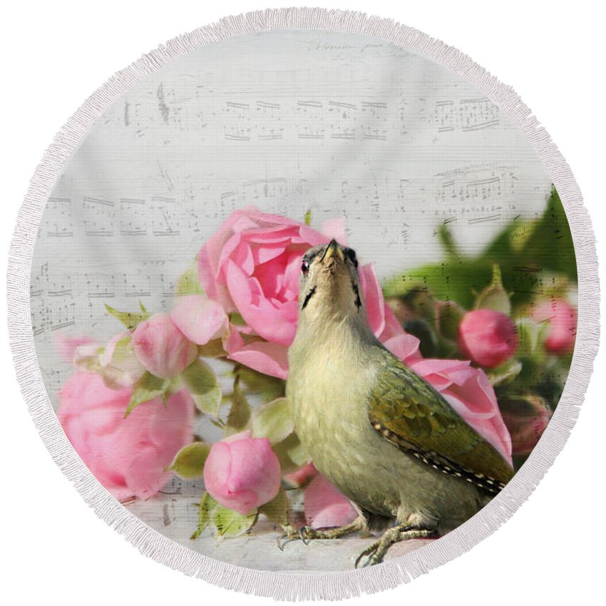 Animal Round Beach Towel featuring the photograph Green Woodpecker Stilllife by Heike Hultsch