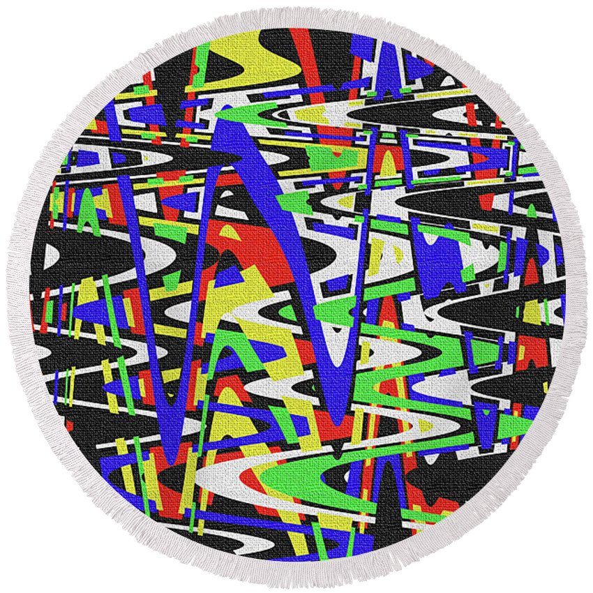 Green Yellow Blue Red Black And White Abstract Round Beach Towel featuring the photograph Green Yellow Blue Red Black And White Abstract by Tom Janca