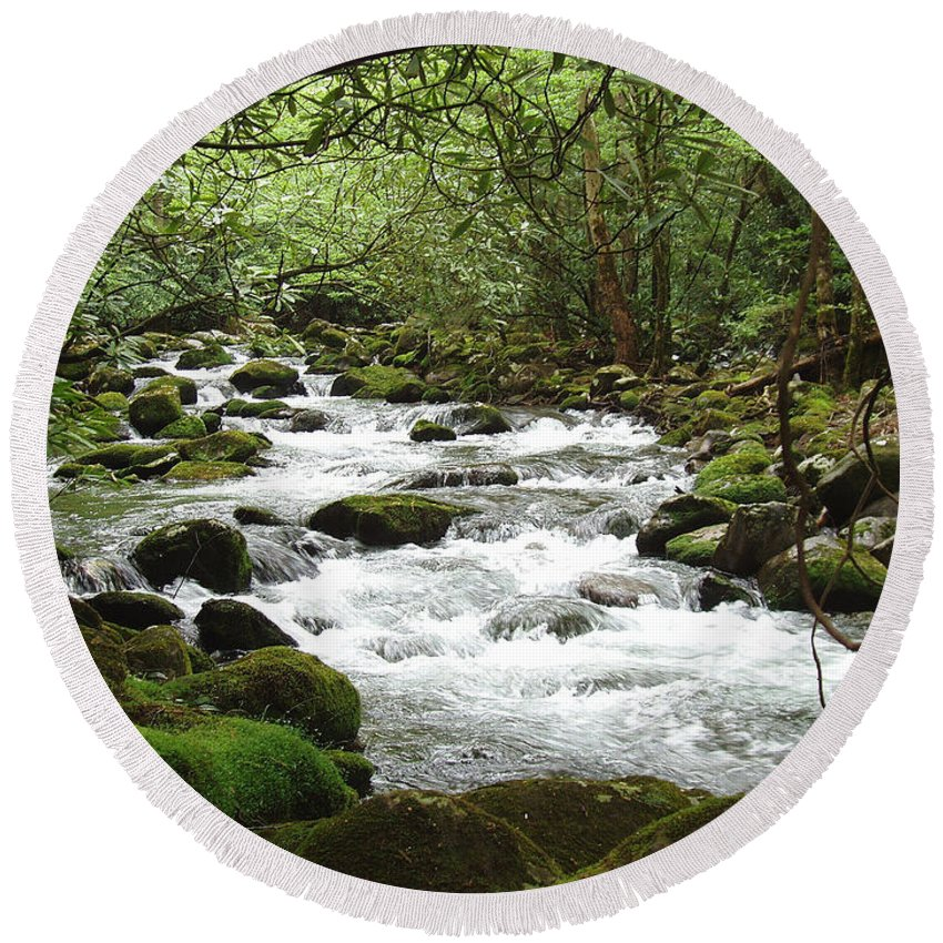Smoky Mountains Round Beach Towel featuring the photograph Greenbrier River Scene 2 by Nancy Mueller
