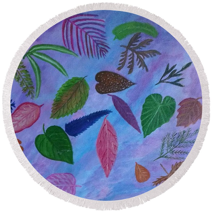 Leaves Round Beach Towel featuring the painting Colorful Leaves by Suma GV