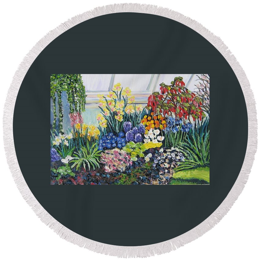 Flowers Round Beach Towel featuring the painting Greenhouse Flowers With Blue And Red by Richard Nowak