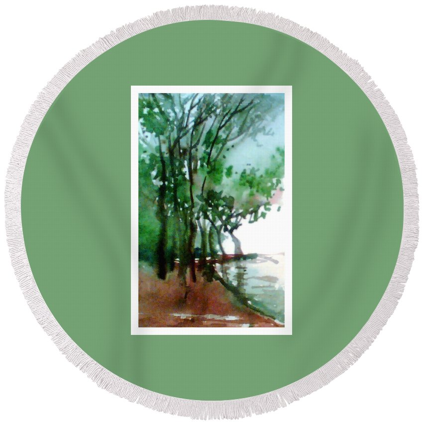 Water Color Round Beach Towel featuring the painting Greens by Anil Nene