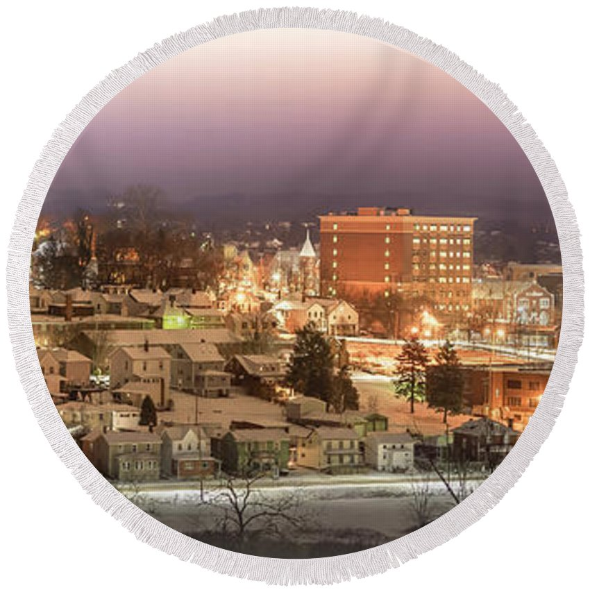 Round Beach Towel featuring the photograph Greensburg Pano by Anna Jo Noviello