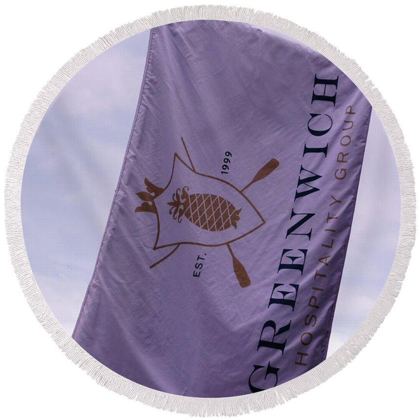 Greenwich Round Beach Towel featuring the photograph Greenwich Flag by Sue Schwer