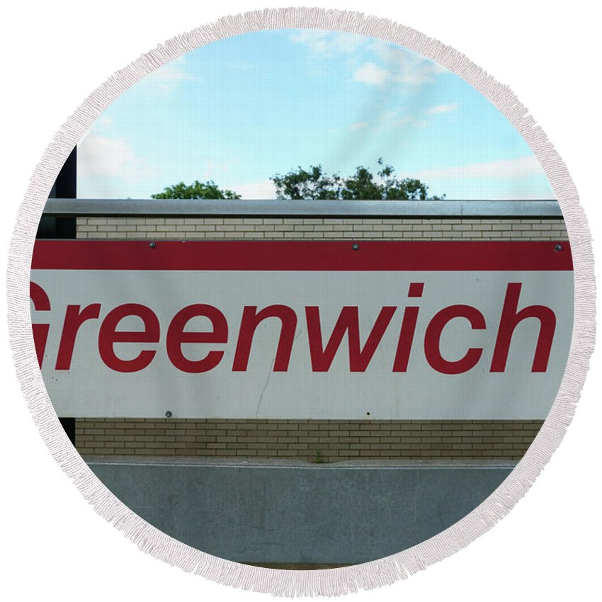 Greenwich Round Beach Towel featuring the photograph Greenwich Train Station by Sue Schwer