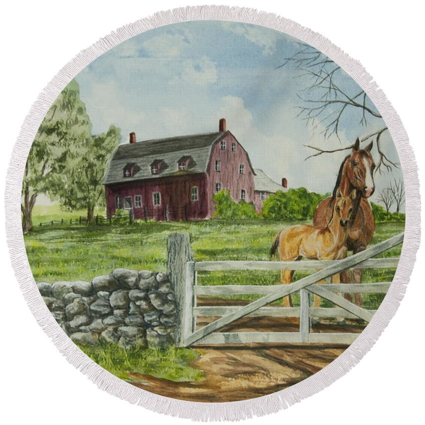 Horses Round Beach Towel featuring the painting Greeting At The Gate by Charlotte Blanchard
