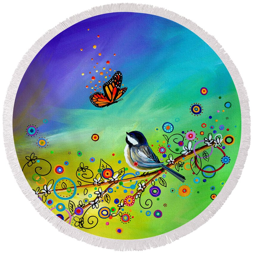 Butterfly Round Beach Towel featuring the painting Greetings by Cindy Thornton