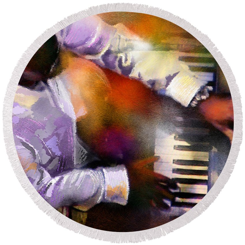 Musicians Round Beach Towel featuring the painting Greg Phillinganes From Toto by Miki De Goodaboom