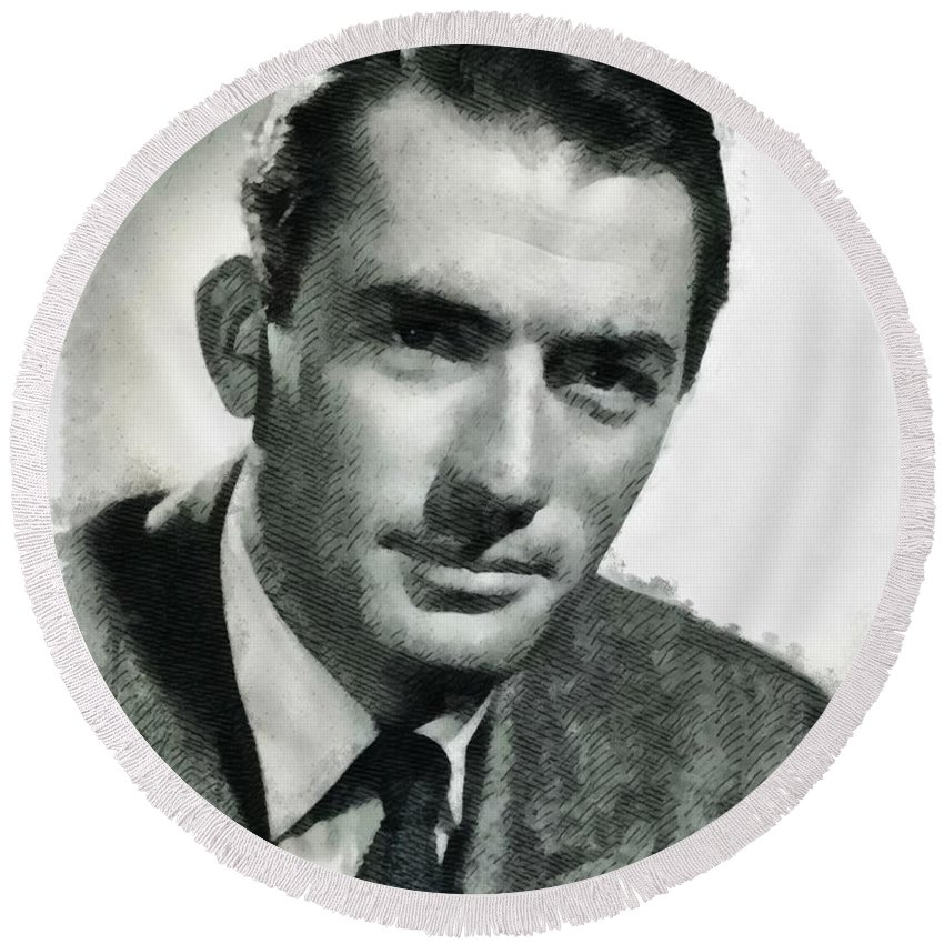 Gregory Round Beach Towel featuring the painting Gregory Peck Hollywood Actor by John Springfield