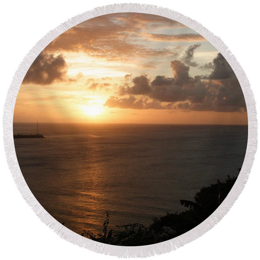 Grenada Round Beach Towel featuring the photograph Grenadian Sunset I by Jean Macaluso